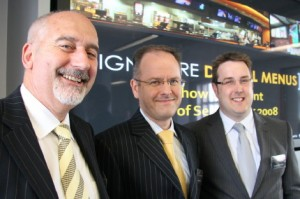 Barry Thurston, Tony Ingles and Peter Critchley (left to right in the picture) - the three directors of Signature Digital Menus