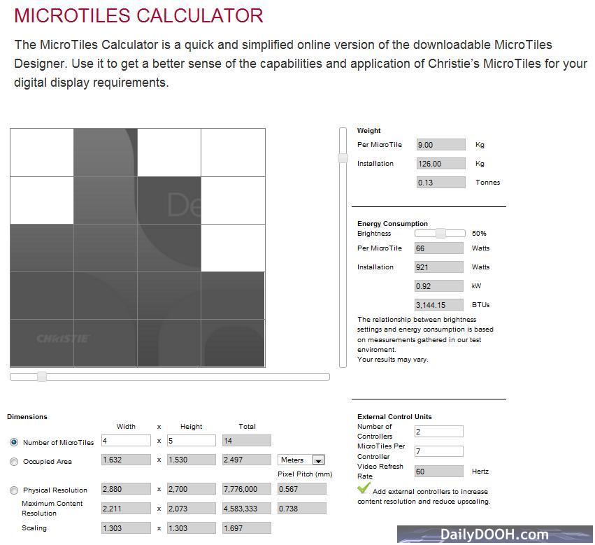Skyscraper screen in the MicroTiles Calculator