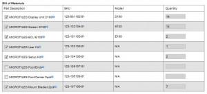Bill of Materials listing