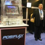 Postiflex screen immersed in water to show imperviousness to rain.