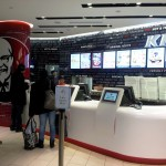 KFC builds-in POP screens into the ordering counter