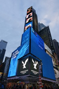 Multi-tiered Barco LED display in N.Y.'s Times Square for American Eagle Outfitters