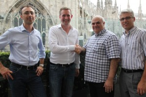 From left to right: Luca Enea Spilimbergo (Gefen), Florian Rotberg, Beppe Andrianò, Roberto Vogliolo (Dooh.it)