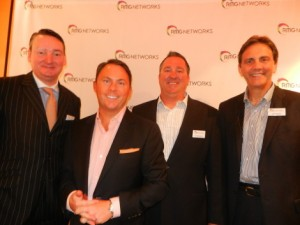 L-R: Dirk Huelsermann, manager, VUKUNET NEC Display Solutions, Europe; with RMG Networks execs Garry McGuire, CEO; Chuck Strottman, vice-president marketing; Steve Nesbit, chief marketing officer
