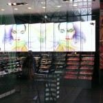 Highly visible from the glass storefront, Sephora video wall catches attention of mall traffic