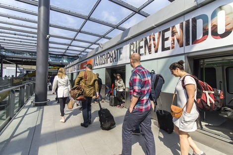 easyJet is the new sponsor the inter-terminal shuttle at London Gatwick Airport