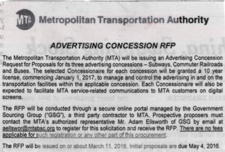 MTA Advertising Concession RFP