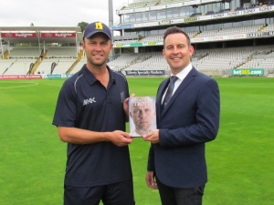 Warwickshire and former England cricketer, Jonathan Trott pictured with Adam Stockton, Managing Director at Elonex