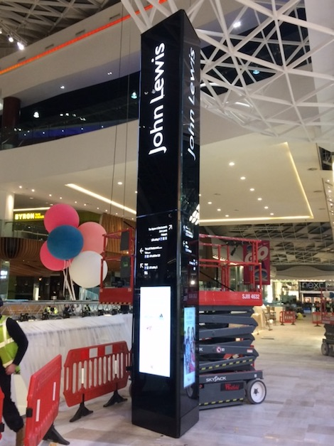 John Lewis Is Opening Its New White City Westfield London This Morning At 09 30 We Spied These Totems Which Were Commissioned Last Night